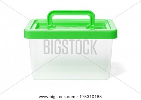 Plastic Container With Handle on White Background