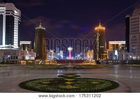 View of Bayterek and Nurzhol boulevard in the evening. Astana. Kazakhstan poster