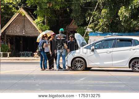 Kalasin, Thailand - February 18, 2017:Car crash accident on road,Front of white car get damaged by accident on the road on February 18, 2017 in Kalasin, Thailand