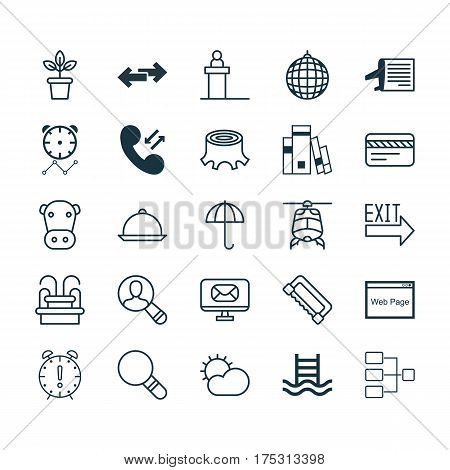 Set Of 25 Universal Editable Icons. Can Be Used For Web, Mobile And App Design. Includes Elements Such As Doorway, Basin Ladder, System Structure And More.
