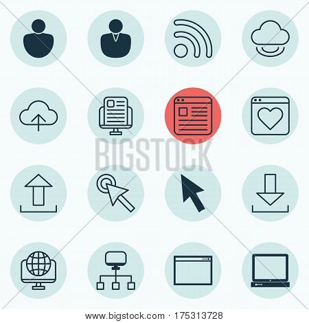 Set Of 16 World Wide Web Icons. Includes Local Connection, Website Page, Virtual Storage And Other Symbols. Beautiful Design Elements.