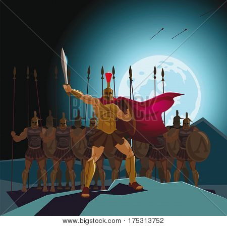 Detachment of Roman legionaries. Warriors defenders. Vector illustration