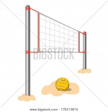 Volleyball net and ball on a white background