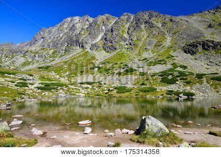 Mountain landscape in the Western Carpathians, Pleso nad Skokom in Mlynicka Valley, Vysoke Tatry (High Tatras), Slovakia