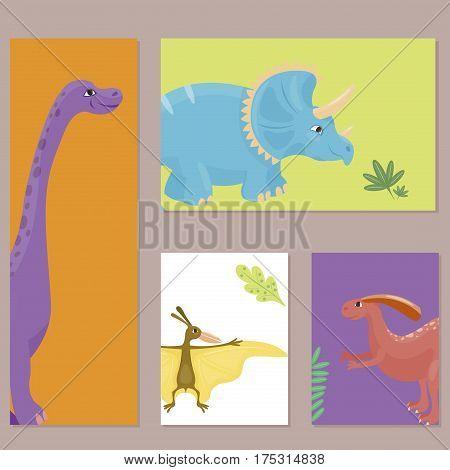 Dinosaur cartoon collection set vector illustratio card template. Cartoon dinosaurs cute monster funny animal and prehistoric character dinosaurs. Cartoon comic tyrannosaurus fantasy dinosaurs.