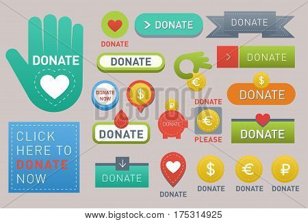 Vector donate concept hand and money set of buttons in flat style. Donation gift charity, isolated web donate buttons design sign contribute. Money giving symbol donate buttons set.