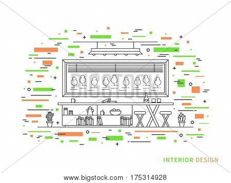 Linear flat interior design illustration of modern designer living room interior space with flowers shelves table chairs window. Outline vector graphic concept of living room interior design.