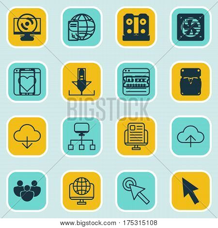 Set Of 16 Web Icons. Includes Data Synchronize, Display, Login And Other Symbols. Beautiful Design Elements.