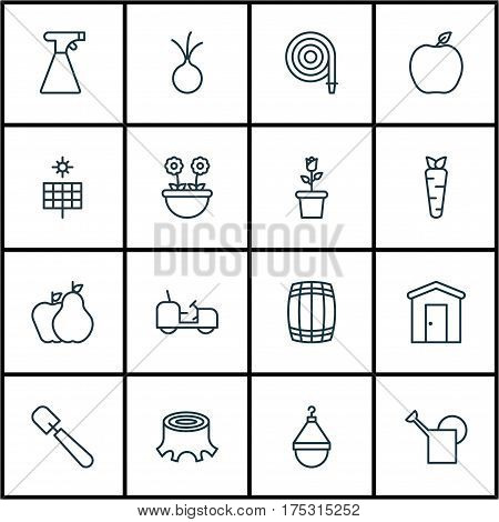 Set Of 16 Holticulture Icons. Includes Sun Power, Sprinkler, Tree Stub And Other Symbols. Beautiful Design Elements.