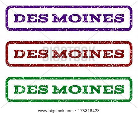 Des Moines watermark stamp. Text tag inside rounded rectangle frame with grunge design style. Vector variants are indigo blue, red, green ink colors. Rubber seal stamp with scratched texture.