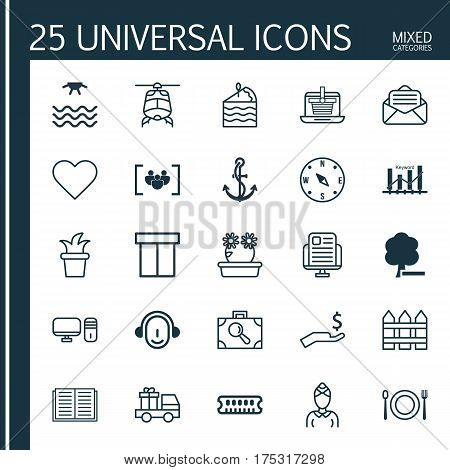 Set Of 25 Universal Editable Icons. Can Be Used For Web, Mobile And App Design. Includes Elements Such As Questionnaire, Keyword Optimisation, Hostess And More.