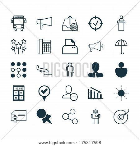 Set Of 25 Universal Editable Icons. Can Be Used For Web, Mobile And App Design. Includes Elements Such As Registration Service, Bullhorn, Work Phone And More.