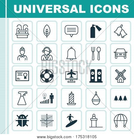 Set Of 25 Universal Editable Icons. Can Be Used For Web, Mobile And App Design. Includes Elements Such As Hostess, Rostrum, Beetle And More.