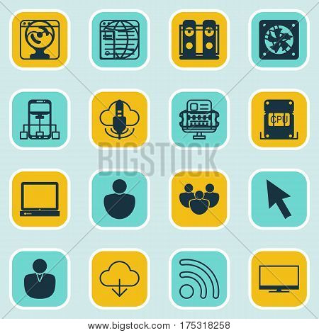 Set Of 16 World Wide Web Icons. Includes Save Data, Cursor Tap, PC And Other Symbols. Beautiful Design Elements.