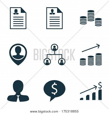 Set Of 9 Human Resources Icons. Includes Tree Structure, Coins Growth, Successful Investment And Other Symbols. Beautiful Design Elements.