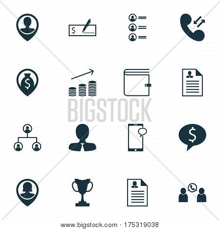 Set Of 16 Management Icons. Includes Business Deal, Money Navigation, Bank Payment And Other Symbols. Beautiful Design Elements.