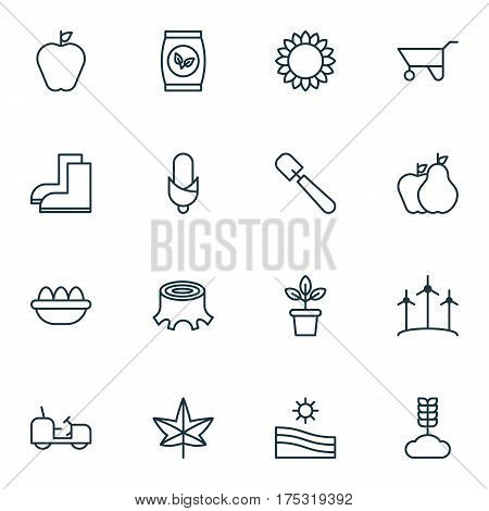 Set Of 16 Holticulture Icons. Includes Windmill, Taste Apple, Fruits And Other Symbols. Beautiful Design Elements.