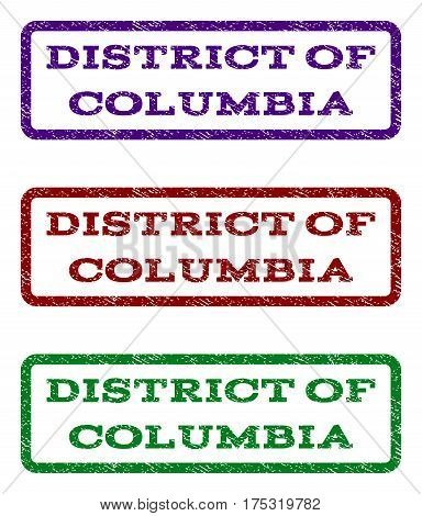 District Of Columbia watermark stamp. Text tag inside rounded rectangle with grunge design style. Vector variants are indigo blue, red, green ink colors. Rubber seal stamp with unclean texture.