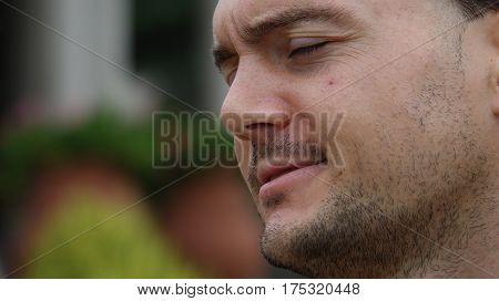 A Close Up of Man With Anguish And Pain