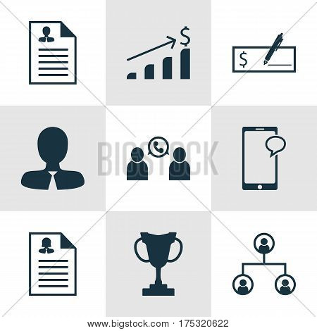 Set Of 9 Management Icons. Includes Tree Structure, Phone Conference, Successful Investment And Other Symbols. Beautiful Design Elements.