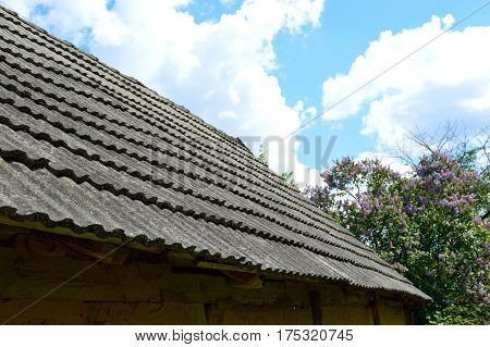 Tile roof of the old timbered house