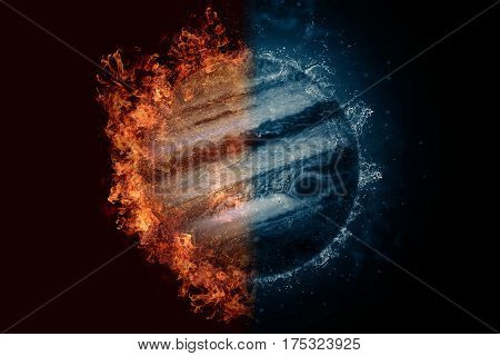 Planet Jupiter in fire and water. Concept sci-fi artwork