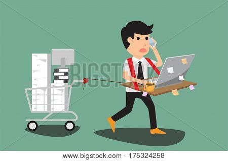 Abstract business man bearing his desk with working all time hard working concept vector illustration.