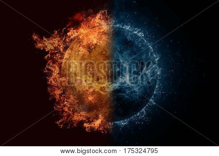 Planet Venus in fire and water. Concept sci-fi artwork