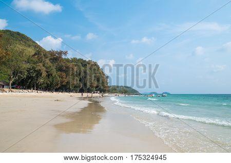 Nang Ram Beach or Hat Nang Ram is the most popular beach in Sattahip close to Pattaya Thailand