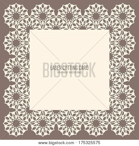 DIY laser cutting vector card. Wedding die cut invitation template. Paper lace cutting. Scrapbook cutout menu.