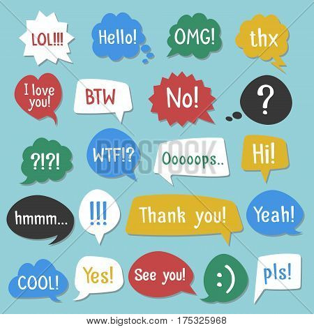 Stickers of speech bubbles color set with shadow. Acronyms and abbreviations. Vector Illustration