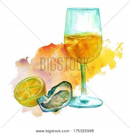 A watercolour drawing of a glass of white wine with an oyster and lemon, with a vibrant textured stain on white background