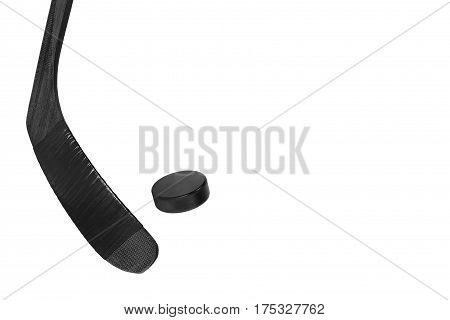 Hockey puck and stick on white background. Isolated