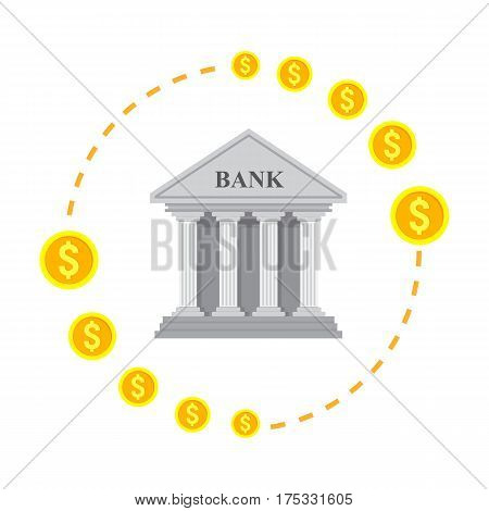 Vector illustration banking icon isolated on white background. Global foreign exchange market.