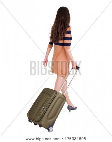 back view of walking  woman  with green suitcase. beautiful brunette girl in motion.  backside view of person.  Rear view people collection. Isolated over white background.