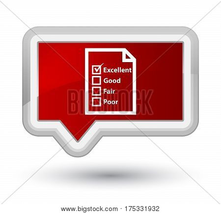 Questionnaire Icon Prime Red Banner Button
