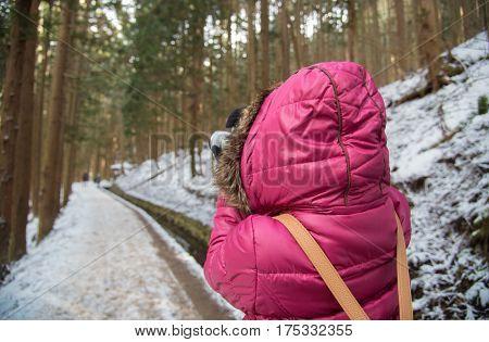 Girl Travel In Winter Season