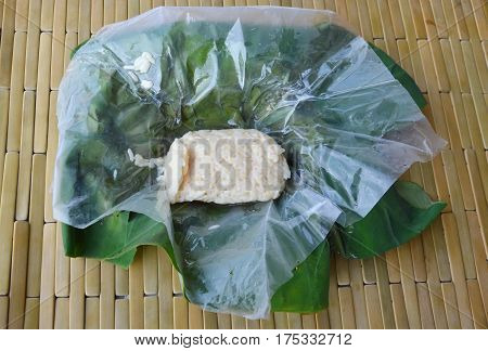 sweetmeat consisting of fermented glutinous rice on plastic packing