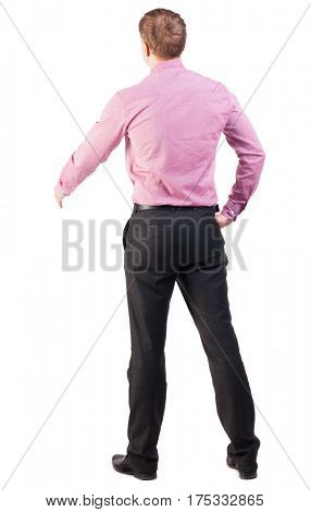 back view of businessman in red shirt out to shake hands. Rear view people collection. backside view of person. manager extends his hand in greeting. Isolated over white background.