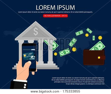 Bank wire transfer. Mobile payment, internet banking, business. Vector illustration.