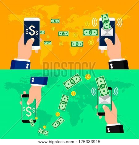 Set of concept online banking, Mobile money transfer, financial operations. Vector illustration.