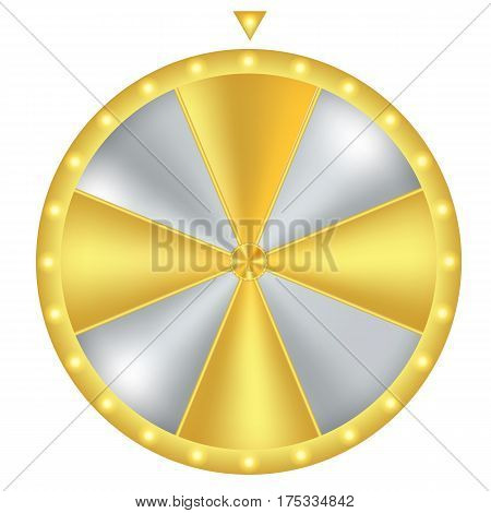 Wheel of fortune. Gold and silver with glow light. Vector illustration