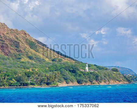 view of Diamondhead Light house from Waikiki