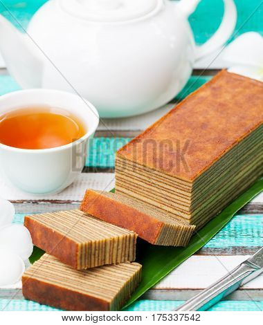 Traditional Indonesian Sweet Lapis Layer Cake.