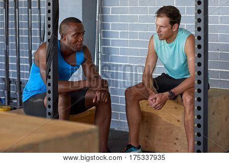 Personal trainer instructor  discussing training plan program with client before exercise routine