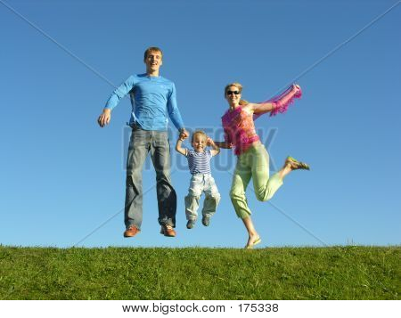Fly Happy Family On Blue Sky