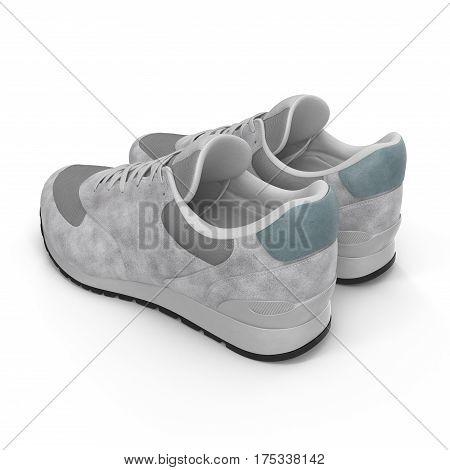 New unbranded running shoe, sneaker on white background. 3D illustration