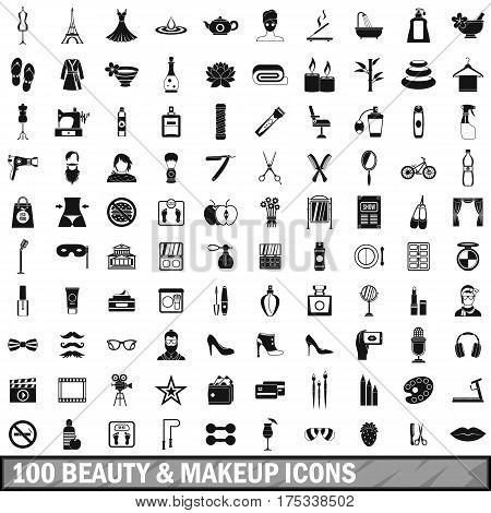 100 beauty and makeup icons set in simple style for any design vector illustration