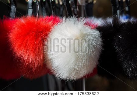 Set Of Different Colours And Shapes Of Pompoms In An Bazaar