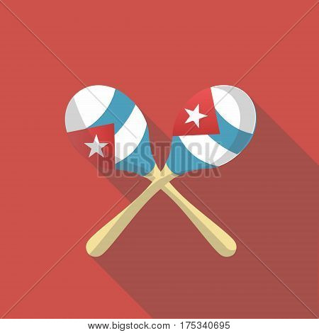 Vector illustration long shadow flat icon of maracas instrument